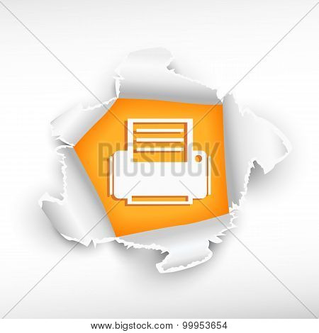 Printer Icon And Breakthrough Paper Hole
