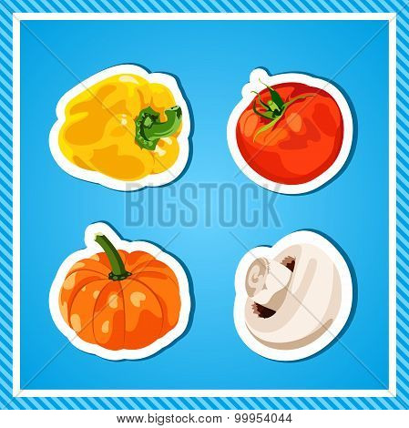 Set of vector vegetables. Isolated vegetables. Fresh and healthy food. Diet. Bright, juicy vegetable
