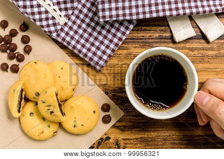 Biscuit With Coffee Background / Biscuit With Coffee / Biscuit With Coffee On Wooden Background