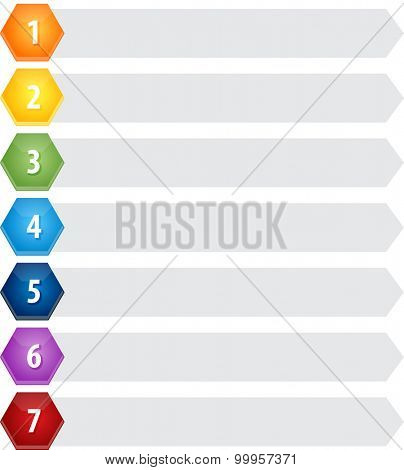 Blank business strategy concept infographic diagram illustration Hexagon Items Seven