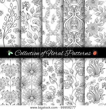 Vector Set Of Monochrome Seamless Floral Patterns
