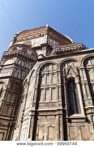 view of Basilica di Santa Maria del Fiore in Florence in Italy