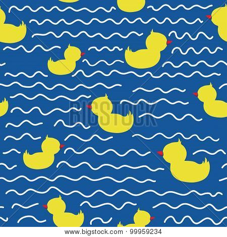 Cute seamless pattern with ducklings