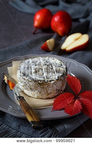 French Cow's Milk Cheese And Red Pears
