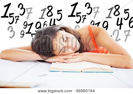 Sleeping student head on her books against numbers