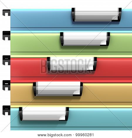 Colored suspended files with copy space available on blank stamps
