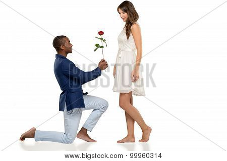 Romantic Barefoot Man Proposing To His Love
