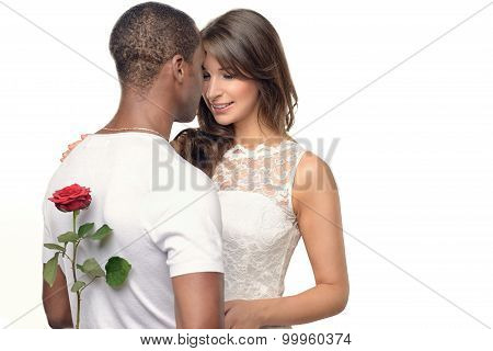 Romantic Young Man With A Pretty Woman