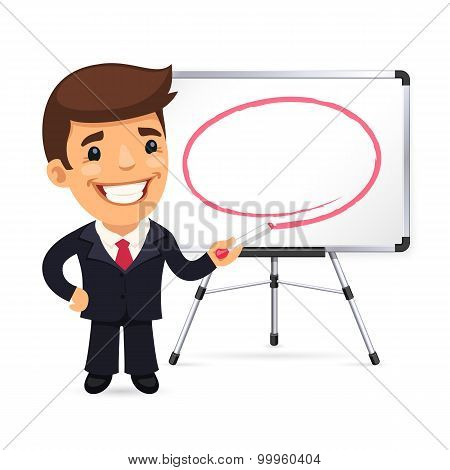 Businessman With Marker in Front of the Whiteboard