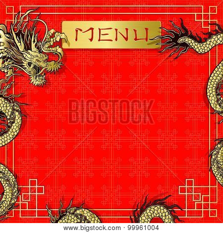 Template Menu Red Background With Dragon