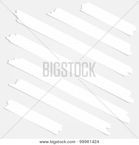 Set of diagonal and different size sticky tape,adhesive pieces on white background
