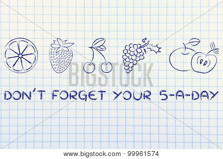 Don't Forget Your Five A Day Fruit And Vegetables