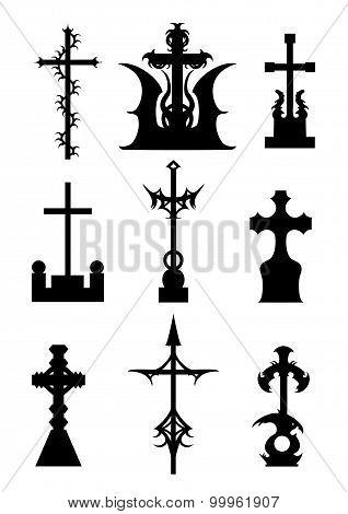Horror Silhouettes Of Cemetery Crosses Set