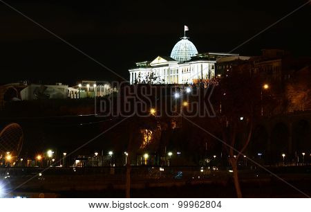 View of the Presidential Palace in Avlabari night. Tbilisi, Georgia