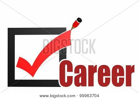 Check Mark With Career Word