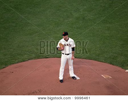 Giants Madison Bumgarner Stands On Mound Looking Towards Homeplate
