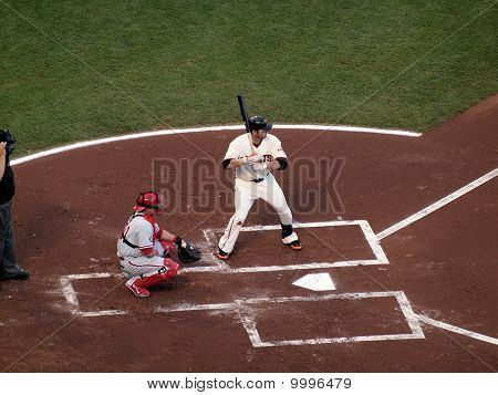 Giants Freddy Sanchez Stands Into The Batters Box With Carlos Ruiz Catching