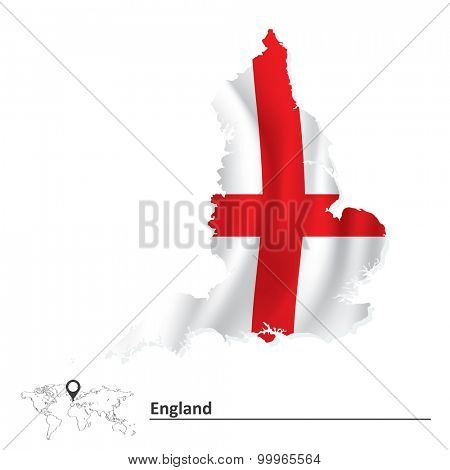 Map of England with flag - vector illustration