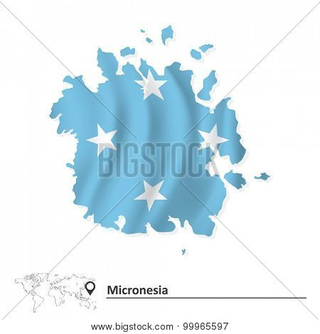 Map of Micronesia with flag - vector illustration