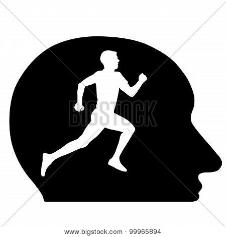 Silhouettes, Athlete Running In My Head, The Conceptual Idea. Ve