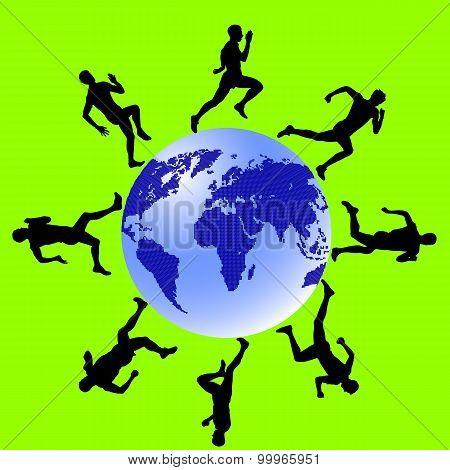 Silhouettes, Athletes Run Around The Globe.