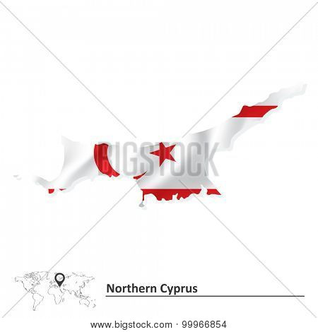 Map of Northern Cyprus with flag - vector illustration