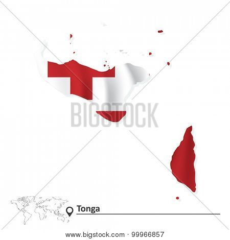 Map of Tonga with flag - vector illustration