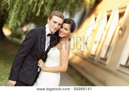 Happy Bridal Couple Embracing
