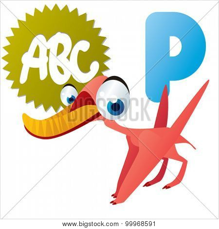 Funny Colorful Vector Animal ABC for Kids: Dinos: P is for Pterodaustro