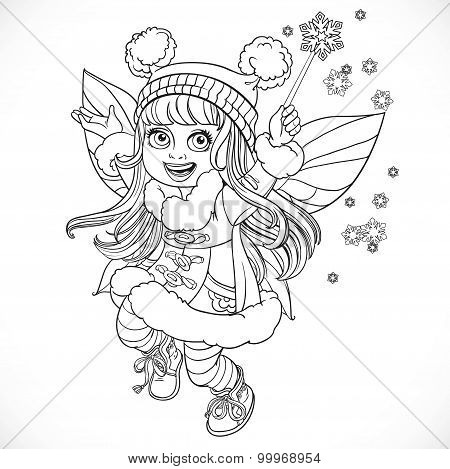 Cute Little Winter Fairy Girl In A Blue Coat With A Magic Wand Outlined Isolated On A White Backgrou
