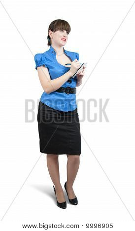 Female  Manager Writing On A Notebook