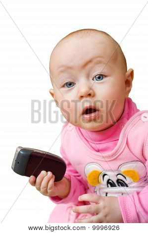 Surprised Baby With Cell Phone, Isolated