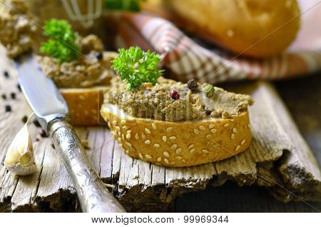 Pate From Beef Liver In A Jar With Bread Slice.