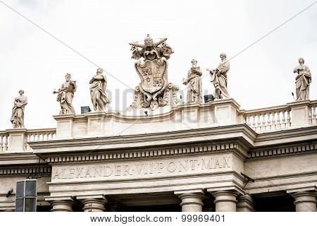 Statues On Colonnades That Surround St. Peter's Square In Rome