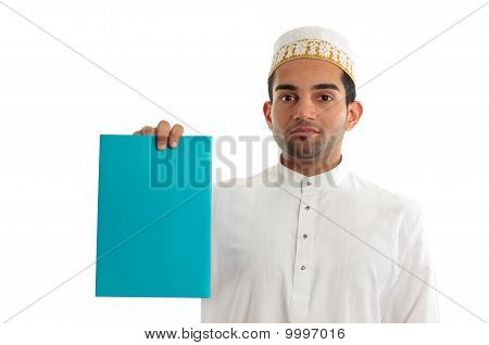 Ethnic Businessman With Brochure Or Advertisement