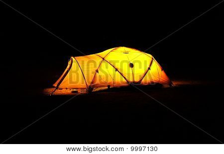 Glowing Tent in the Darkness
