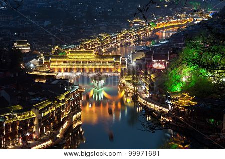 Elevated View Of Fenghuang Ancient Town Lit Up At Night