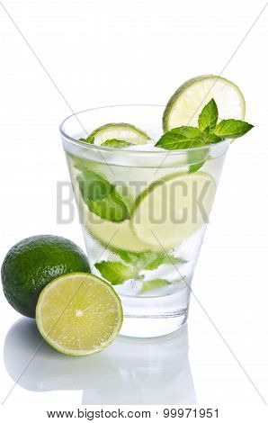 Mohito Mojito Drink With Ice Mint And Lime. Isolated On White Background
