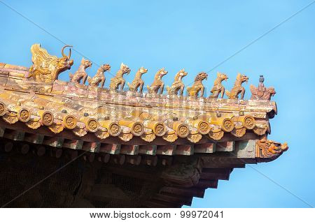 Ornate Roof Figurines At The Forbidden City, Beijing, China
