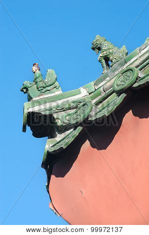Ceramic Figures On The Roof Of The Lama Temple, Beijing