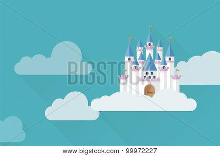 Castle in the sky. Flat design fantasy castle in the clouds vector illustration