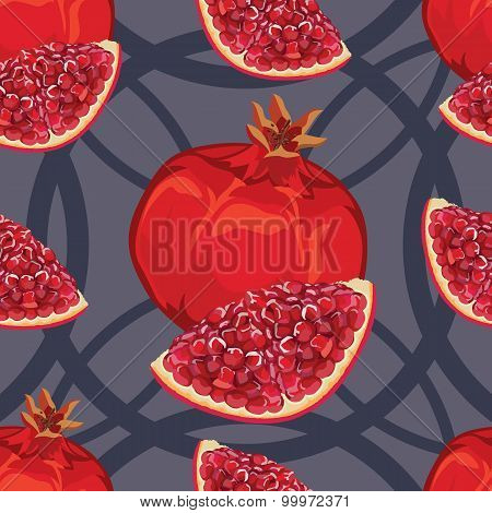 seamless pattern of ripe red garnet