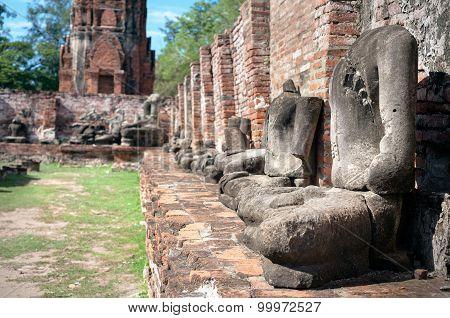 Headless Buddha Statues At Wat Mahathat, Ayutthaya, Thailand