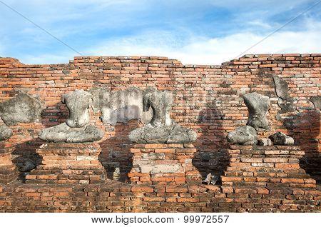 Headless Buddha Statues At Wat Chaiwatthanaram, Ayutthaya, Thailand