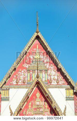 Roof Detail Of Wihan Phra Mongkhon Bophit, Ayutthaya, Thailand