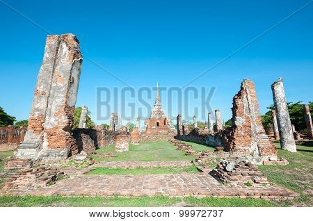 Ruins Of The Former Main Prayer Hall At Wat Phra Si Sanphet, Ayutthaya, Thailand