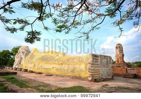 Reclining Buddha Statue At Wat Lokayasutharam, Ayutthaya, Thailand