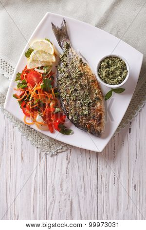 Grilled Dorado Fish With Pesto And Vegetable Salad. Vertical Top View
