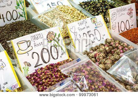 Herbal Tea Stall At A Thai Market