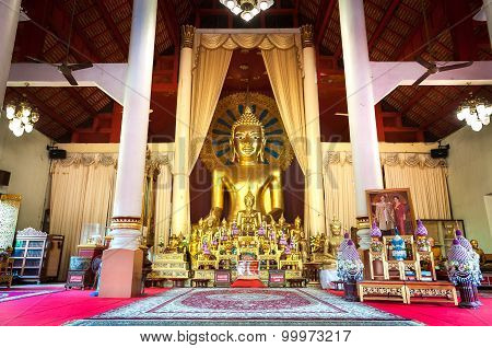 Altar And Golden Buddha Statue In The Main Prayer Hall At Wat Phra Singh, Chiang Mai, Thailand